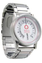 Novo the STREET Silver and White Big Face White Dial Steel Strap and Case