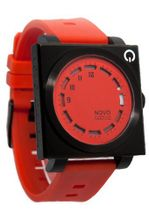 Novo the UNKNOWN Black and Red Square Face Red Dial Red Poly Band