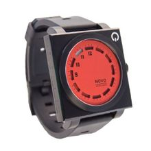 Novo the UNKNOWN Red and Black Square Face with Black Rubber Strap