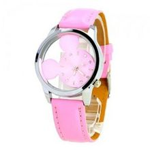 Cute Lovely with Transparent Round Dial Quartz Movement-Pink dial