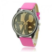 Cute Soft PU Leather Band LOVE Round Dial Quartz Movement Wrist -Red band