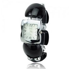 Elegant Graceful Plastic Band Quartz Movement Bracelet Wrist - Black