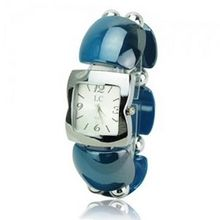 Elegant Graceful Plastic Band Quartz Movement Bracelet Wrist - Blue