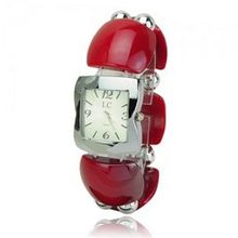 Elegant Graceful Plastic Band Quartz Movement Bracelet Wrist - Red