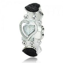 Elegant Graceful Rhinestone Stainless Steel Quartz Movement Bracelet Wrist - Black
