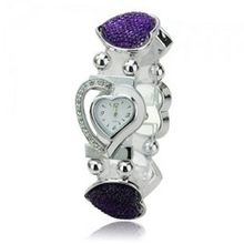 Elegant Graceful Rhinestone Stainless Steel Quartz Movement Bracelet Wrist - Purple