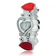 Elegant Graceful Rhinestone Stainless Steel Quartz Movement Bracelet Wrist - Red