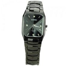 Elegant Metal Band Square Dial Quartz Movement with Waterproof and Stainless Steel Back-Black
