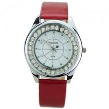 Elegant PU Leather Band Round Dial Rhinestones Quartz Movement with Waterproof and Stainless Steel Back-White dial and red band