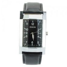 Elegant PU Leather Band Square Dial Quartz Movement with Waterproof-black