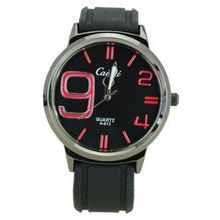 Elegant Quartz Movement Bright Color Graduation of Scale with Soft Silicone Band-Red scale
