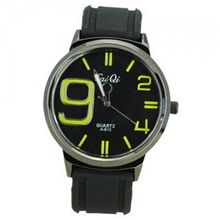 Elegant Quartz Movement Bright Color Graduation of Scale with Soft Silicone Band-Yellow scale