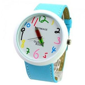 WOMAGE Cute Chronometer with Pencil Pointer/Round Dial/Quartz Movement/PU Leather Band-Sky blue