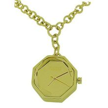 Oasis Analogue Hexagonal Gold Tone Metal Faceted Ladies Pendant BV36.80OG