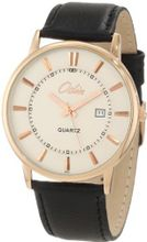 Odin 6002-3M Wh Precision Quartz 3-Hand Date Gold Tone with Leather Strap