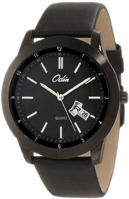 Odin 809-6M Bk Precision Quartz Quickset Big Day and Date with Leather Strap