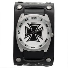 Large Black Iron Cross Leather Band