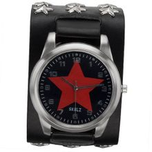 Red Star on Black - Leather Strap with Star Studs