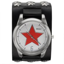 Red Star on White - Leather Strap with Star Studs