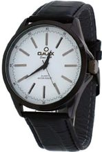 Omax #00OAS105BB43 Executive Casual Black IP White Dial Leather Band