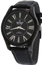 Omax #00OAS117BB22 Executive Casual Black IP Roman Dial Leather Band