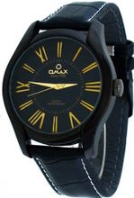 Omax #00OAS117BB42 Executive Casual Black IP Roman Dial Leather Band