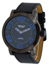 Omax #A001 Leather Band Black IP Oversized Domed Crystal