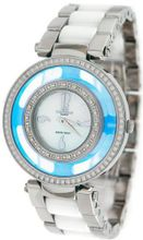 Oniss Blue Sky Diamond Silver Tone Stainless Steel White Ceramic Combo #ON385-L7