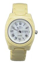 Oniss Cream Yellow Ceramic Day and Date ON7701-L/ES