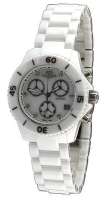 Oniss ON8206-L White Ceramic with Genuine Diamonds Chronograph