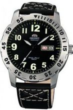 Orient #EM7A003B Aviator Leather Strap Black Easy Reader Dial Automatic