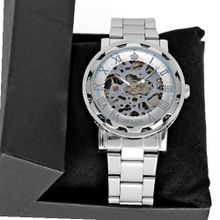 Elegant Orkina Silver Tone Skeleton Steel Casual Mechanical Wrist Hot
