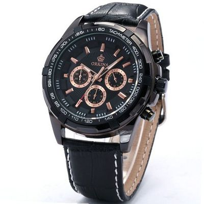 Orkina Black Dial 24Hrs Stop Sport Leather Quartz Wrist Gift ORK064