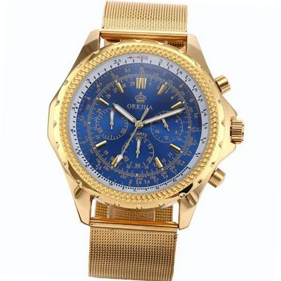 ORKINA Chronograph Golden Stainless Steel Band Quartz Sport Wrist ORK114