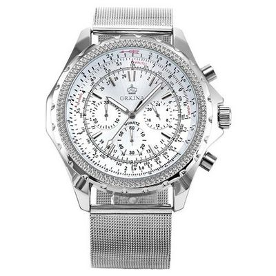 ORKINA Luxury Chronograph Silver Stainless Steel Band Sport Wrist ORK116