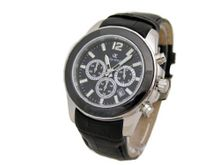 Oskar Emil Alpha Black Multifunction Gents , With Leather Strap