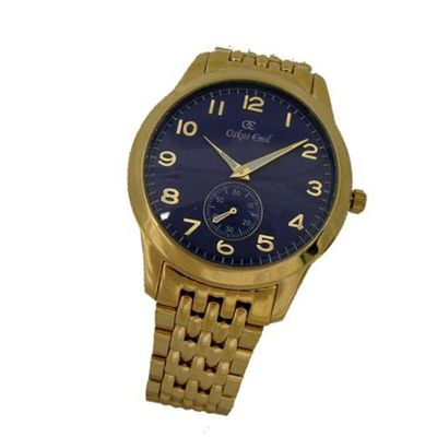 Oskar Emil Basel Gold Blue Classic Gents with Gold IP Plated Stainless Steel Case and Strap