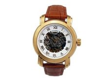 Ouyawei Bezel es Brown Leather Band Round Hollow White Dial Golden Water-Proof Mechanical es