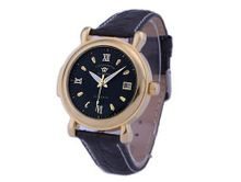 Ouyawei Black Dial Black Leather Strap Golden Round Mechanical es