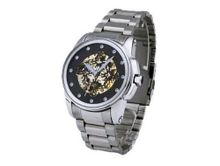 Ouyawei Black Dial Stainless Steal Strap Round Mechanical es