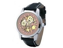 Ouyawei Black Leather Band Round Hollow Pink Dial Silver Shell es Water-Proof Mechanical es