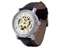 Ouyawei Black Leather Band Silver Bezel es Water-Proof Mechanical es