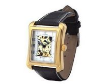 Ouyawei Black Leather Band White Dial Golden Shell Hollow es Water-Proof Mechanical Rectangle es