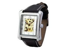 Ouyawei Black Leather Band White Dial Silver Shell es Water-Proof Mechanical Rectangle Hollow es