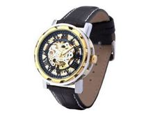 Ouyawei Black Leather Pierced Gold And Black Dial Strap Mechanical es