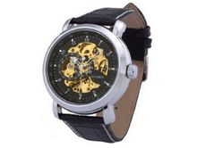 Ouyawei Black Leather Strap Black And Gold Dial Mechanical Round es