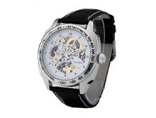 Ouyawei Black Leather Strap Pierced Mechanical White Dial es
