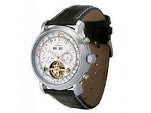 Ouyawei Buffalo Black Leather Strap Round white Dial Silver Bezel Mechanical es
