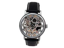 Ouyawei Business Black Leather Strap Silver Dial Mechanical es