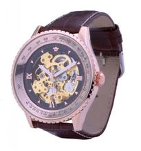 Ouyawei Business Gold And Black Dial Brown Leather Strap Mechanical es